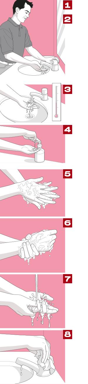 Passos para lavar as mãos corretamente